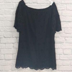 Madewell | Black Eyelet Lace Short Sleeve Dress